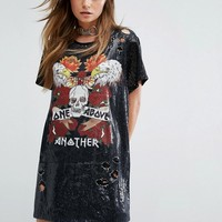 One Above Another Oversize T-Shirt Dress In Sequin at asos.com