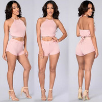 Halter Neck Tops And Shorts Two Piece 10345