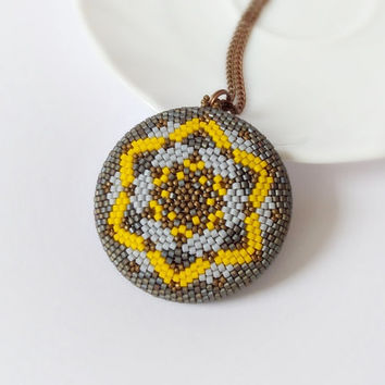 Large geometric pendant, beaded star pendant, grey modern necklace, statement necklace, double sided beadwork pendant