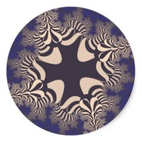 Blue Chrome Star Large Round Stickers