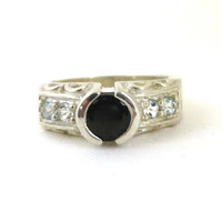 Sapphire & Topaz Ring, Vintage Sterling Silver Antique Finish Band, Black Sapphire Anniversary Band Gift Ring Size 7