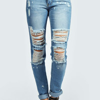 Nellie Paint Splatter Ripped Boyfriend Jeans