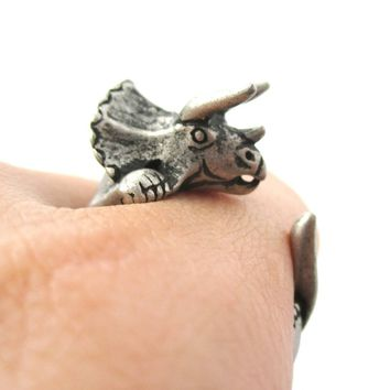 Triceratops Dinosaur Prehistoric Animal Wrap Around Hug Ring in Silver | US Size 4 to 8.5