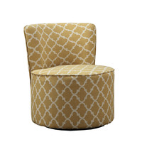 """Gold """" Lantern """" Fabric Accent Chair With Swivel Base"""