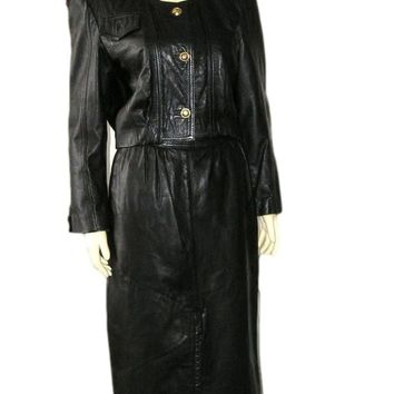 Luxury Vintage 1980 GIORGIO MOBIANI Italy Black Leather Skirt Suit Lined in Scarf Silk 8 - Unique features