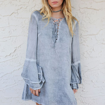 Better Half Charcoal Acid Wash Shift Dress