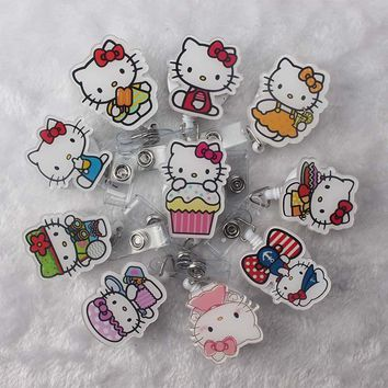 10PC Mini Cartoon Hello Kitty Retractable Pull Badge Reel ID Card Clip Cool Cat ID Badge Lanyard Name Tag Card For School Office
