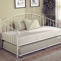 Kings Brand White Metal Twin Size Day Bed (Daybed) Frame with Trundle