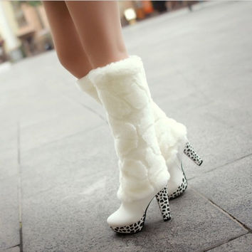 Gorgeous Two Ways to Wear Leopard Lace Fur Warm Boots White = 1931561860