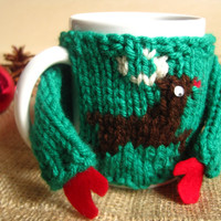 Ugly Christmas Sweater for Mug – Ugly Sweater Coffee Mug Cozy – Christmas Reindeer Mug Cozy – Cute Gift for Boyfriend - Stocking Stuffer
