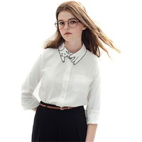 Spring Women Embroided Tops Girl Cat Collar Blouses White Long Sleeve Pocket Casual Shirts with Cute Cat College Style CX855718