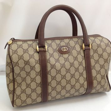 Authentic Gucci GG Pattern Boston Hand Bag Brown Vintage 8C070190#