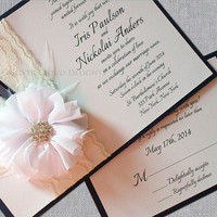 Lace Invitations with Rhinestone Flower, Ribbon and Feathers - Wedding Invitations - Bridal Invitations - Set of 10 Handmade Invitations