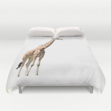 Art Duvet Cover Giraffe photography home decor photograph safari animal print photo full queen king bed orange white African animal Africa