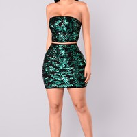 Costa Rica Night Sequin Set - Green/Black