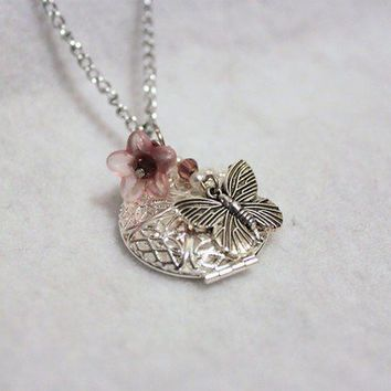 Silver and Pink Butterfly and Flower Locket Neckace - FREE SHIPPING