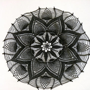 Black flower round crochet large doily/ centerpiece