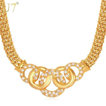 U7 Trendy Circle Charms Pendant Necklace Gold Color Popcorn Chain Rhinestone Necklaces & Pendants African Jewelry N399
