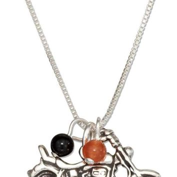 "Sterling Silver 18"" Motorcycle Pendant Necklace With Black And Orange Beads"