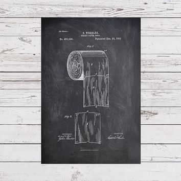 Toilet Paper Patent, Toilet Poster, Bathroom Art, Bathroom Poster, Restroom Print, Restroom Art, Bathroom Wall Print