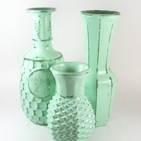 Upcycled Vase Set Painted Vases Mint Shabby Chic Vintage