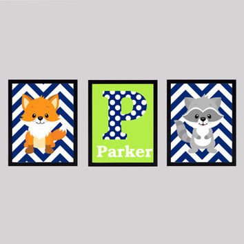 Monogram Letter and Name, Navy and Lime Green, Fox Raccoon, CUSTOMIZE YOUR COLORS, 8x10 Prints, set of 3, nursery decor print art baby decor