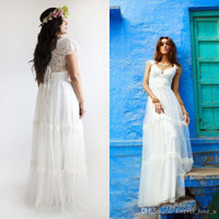 Vintage Lace Bohemian Wedding Dress UP to Plus Size A Line Bridal Gown