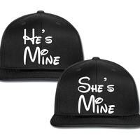 she is mine he is mine  disney writing couple matching snapback cap