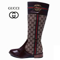 GUCCI Fashion Women Print Leather High Boot Flats Shoes I