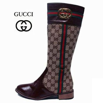 One-nice™ GUCCI Fashion Leather High Boot Flats Shoes I