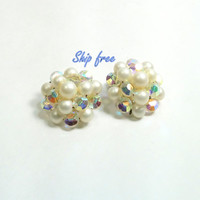 Faux Pearl Earrings  Rainbow Aurora Crystals and Vintage Pearl Clip On Earrings Pearl Clusters Gift Idea