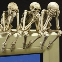 See, Hear, and Speak no Evil Shelf Sitter Skeleton Figurine (Set of 3 pieces)