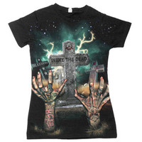 Sloth on Black Fine Jersey Slim Fit 2 Sided Sheer Top by Bleeding Star Clothing Co.