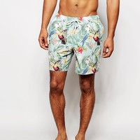 ASOS Mid Length Swim Shorts With Tropical Bird Print