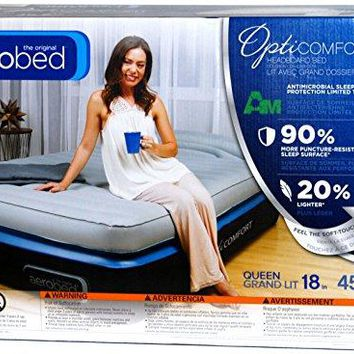 """AeroBed: Queen Size 18"""" Double Height Air Matress with Headboard Bed - OptiComfort Easy AC Pump & Hand Control"""
