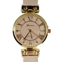 Inset Crystal Roman Numeral Watch - Nude