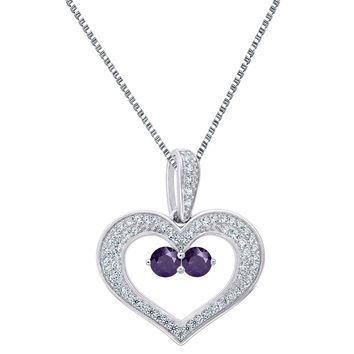 Sterling Silver Heart Pendant Purple 2 Solitaire CZ Forever Us Charm Necklace
