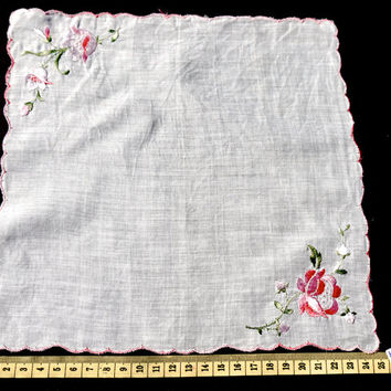 Vintage Hanky,White Handkerchief with Pink Embroidered Flower,Embroidered Hanky,Wedding Hanky,Flower Girl Hanky,Wedding Favor,Wedding Hanky