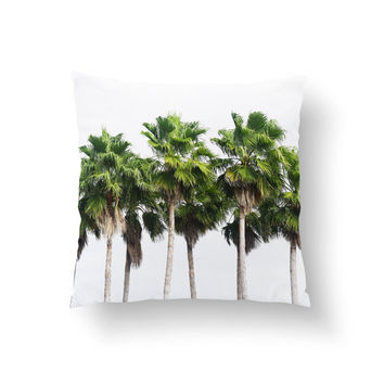 Sand Key Palms - Throw Pillow Cover, Beach Style Furnishing Accent, Tropical Green Palm Trees Couch Bed Throw. 14x14 16x16 18x18 20x20 26x26