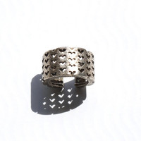 3D Printed fashion - Perforated Heart Ring in Stainless Steel. heart fashion, modern industrial jewelry, unique gifts