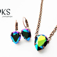 Swarovski Necklace Set, Pear, Lever Backs, Scarrabeus Green, Rainbow, Copper Setting, DKSJewelrydesigns, FREE SHIPPING