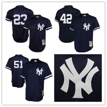 Retro New York Yankees #23 Don Mattingly Jersey #42 Mariano Rivera Jersey #51 Bernie Williams Jersey Mitchell Mesh Stitched Baseball Jerseys
