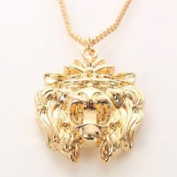 Gold Lion Face Necklace