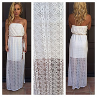 Boho Princess Strapless Maxi Dress - Ivory