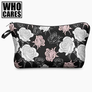 Beauty Roses Black Tropical Flowers Palms 3D Print Cosmetic Bag Women Makeup Organizer Toiletry Bag with Zipper Neceser Trousse