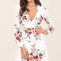 Across The Atlantic dress in white floral Produced By SHOWPO