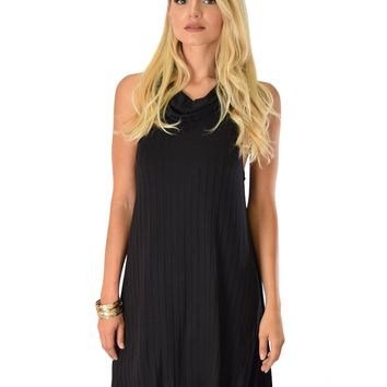 Lyss Loo Groove Thing Ribbed Cowl Neck Black Shift Dress