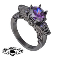 'Viola Principessa' Winged Skull 14K Black Gold & Purple Amethyst Ring (w016)