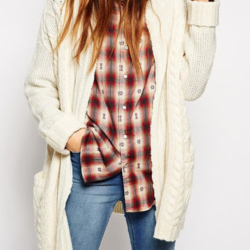 Beige Long Sleeve Geometric Pattern Pockets Cardigan