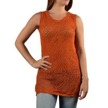 Sleeveless Embroidered Mesh Top -9F29297d